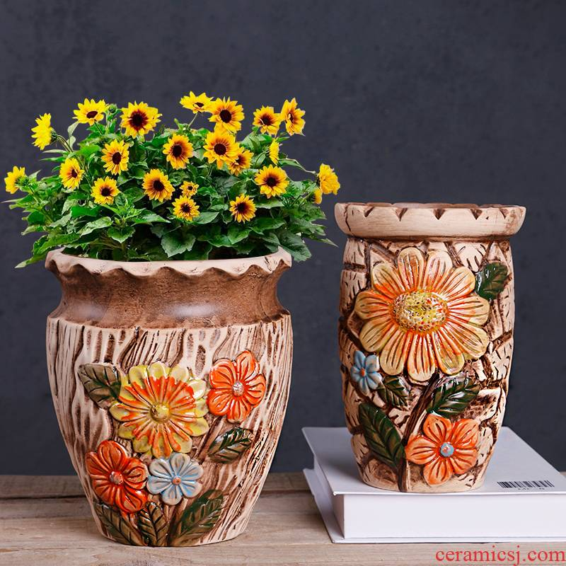 Special flower pot coarse pottery large diameter ceramic European contracted meaty plant high old running the basin orchid flower POTS clearance