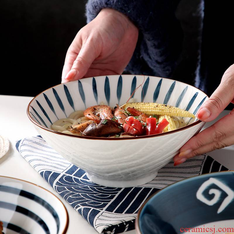 Jingdezhen ceramic bowl Japanese household eat la rainbow such use large soup bowl hat to a single tableware salad bowl mercifully rainbow such use