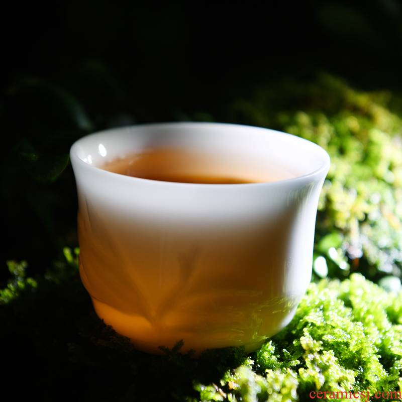 Dehua white porcelain ceramic sample tea cup kung fu tea cup master chorale ink cup suet jade porcelain large individual single CPU