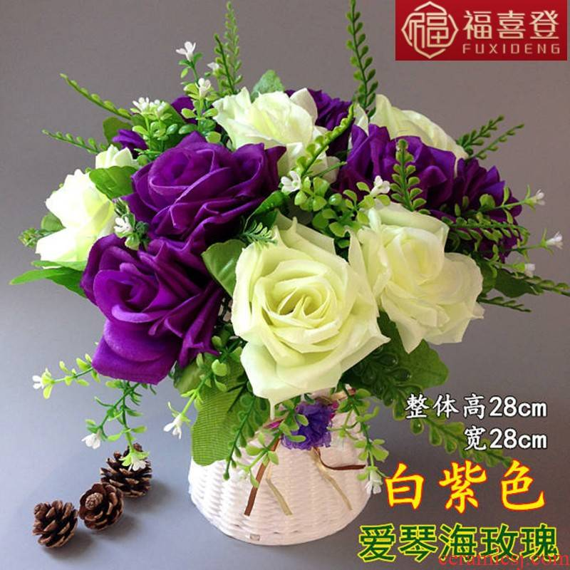 Fu xi 's European simulation furnishing articles suit to decorate the sitting room tea table table arranging flowers potted rose