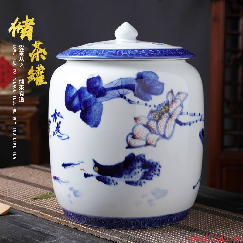 Hand made blue and white porcelain storage POTS of bread seven pu 'er tea pot large tea urn jingdezhen ceramic tea cake can receive