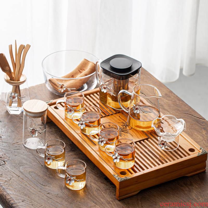 Old &, large square glass with tin pot of kung fu tea set suits for the to boil the teapot tea household contracted tea tray