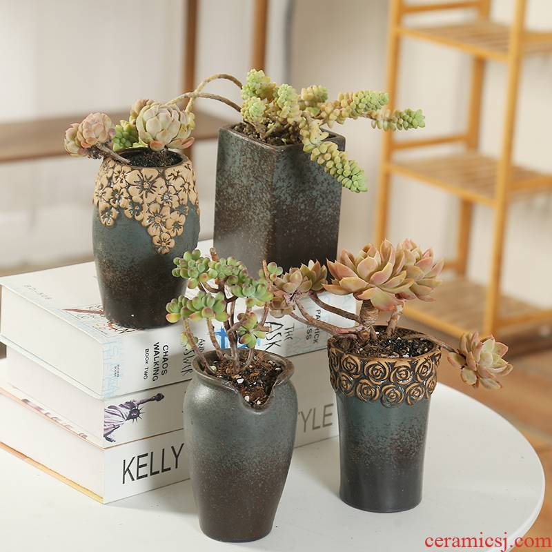 Ceramic flower pot old running the end, fleshy special offer a clearance through pockets tao large running the cliff flesh zhuang zi restoring ancient ways