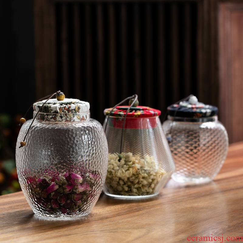 Fujian gen caddy fixings glass hammer seal pot household contracted moisture - proof packaging wake receives scented tea storage jar