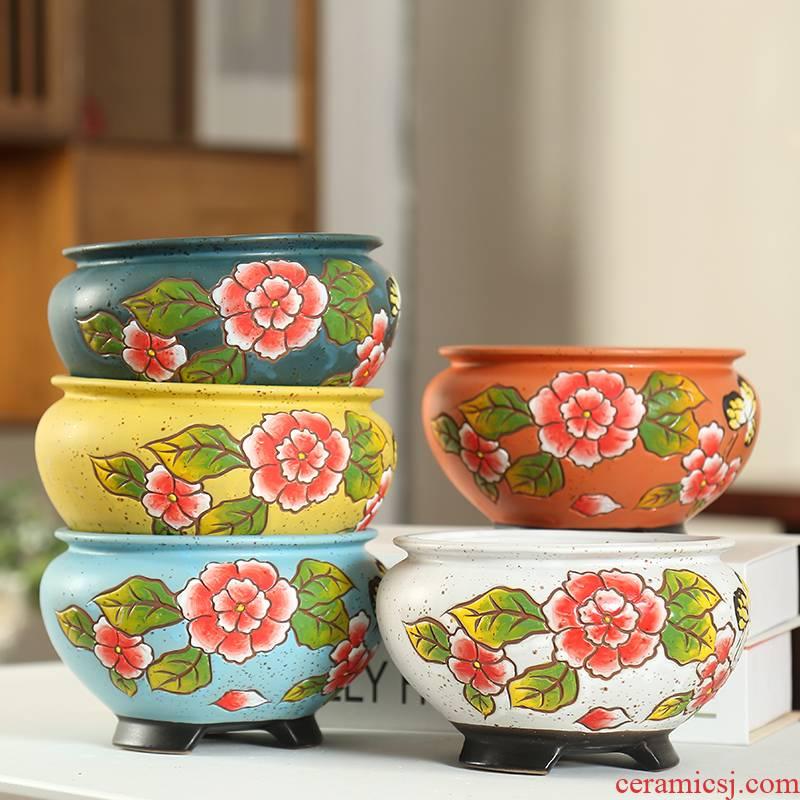 Full stop large delay jubilee Korean coloured drawing or pattern of large diameter fleshy ceramic platter spread coarse pottery creative flesh air