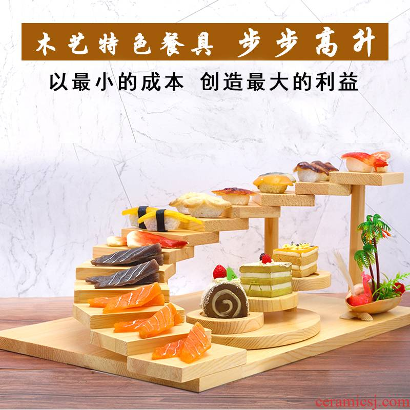 Stripes tableware multilayer creative restaurants, Japanese sashimi sushi plate hotpot restaurant wooden tray