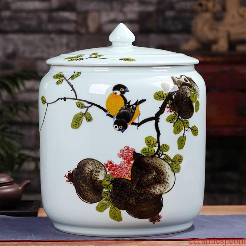 The Big number last come to jingdezhen ceramic tea pot of tea ware store household cylinder twelve loaves pu - erh tea storage tanks