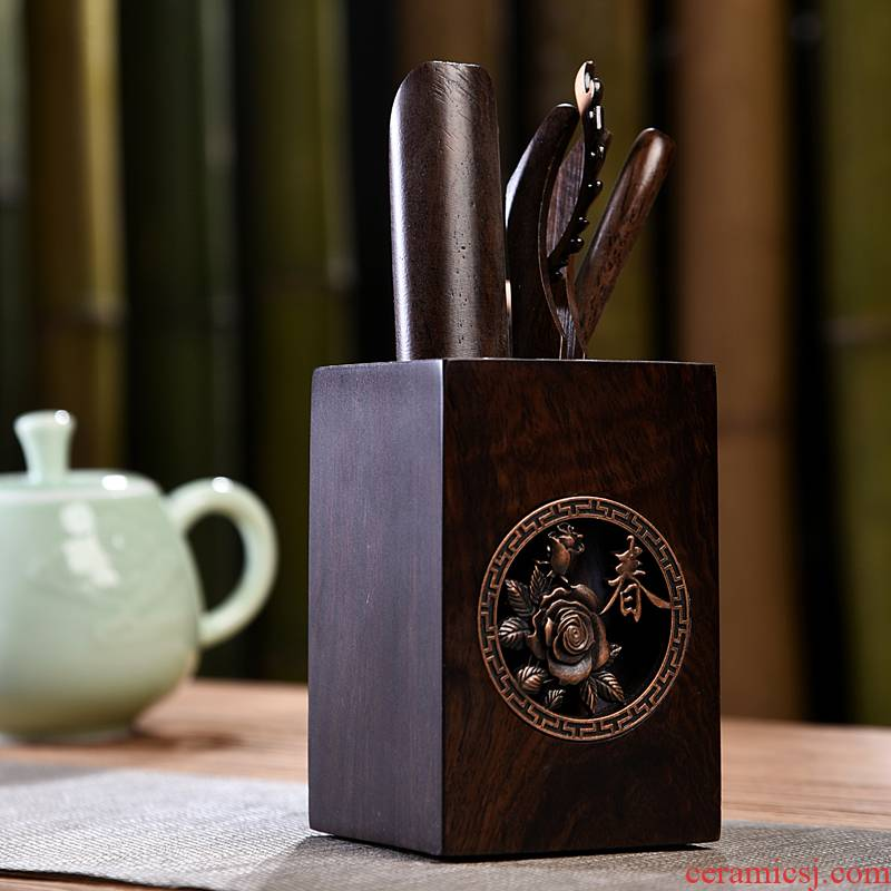 Gorgeous young creative kung fu tea accessories kung fu tea six tea six gentleman 's gentleman' s suit real wood ebony clock