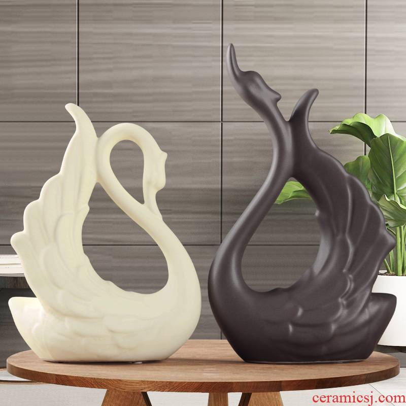 Modern Nordic creative ceramic household restaurant wine ark, guest bedroom TV ark adornment feather swan furnishing articles