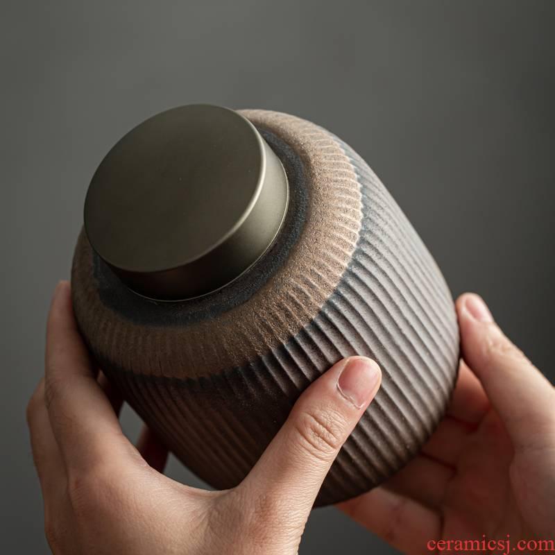 Coarse pottery stripe caddy fixings Japanese vintage tin lid seal pot creative household moistureproof black tea tea POTS