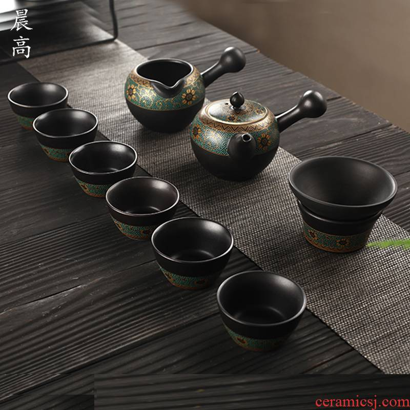 Morning old calcining high Taiwan tea set suit, black pottery teapot household contracted tea cups, a complete set of gift box