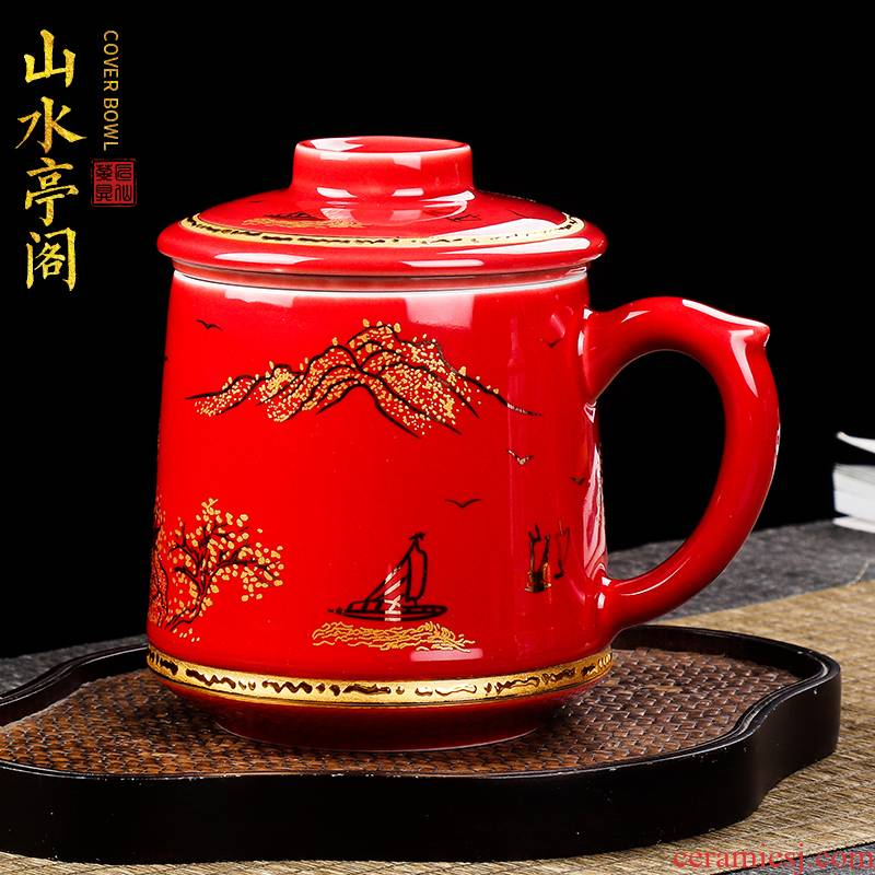 Artisan fairy office of jingdezhen ceramic cup colored enamel paint mark cup with cover filtration separation tea tea cup