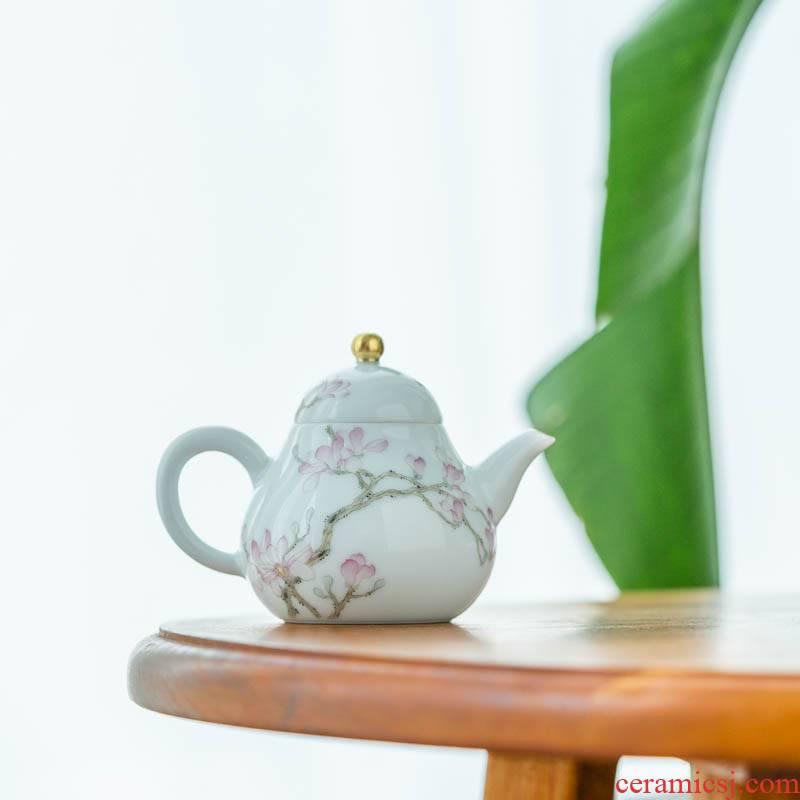 Get in hand - made demand flower small pear pot of 125 ml of jingdezhen ceramic tea pot