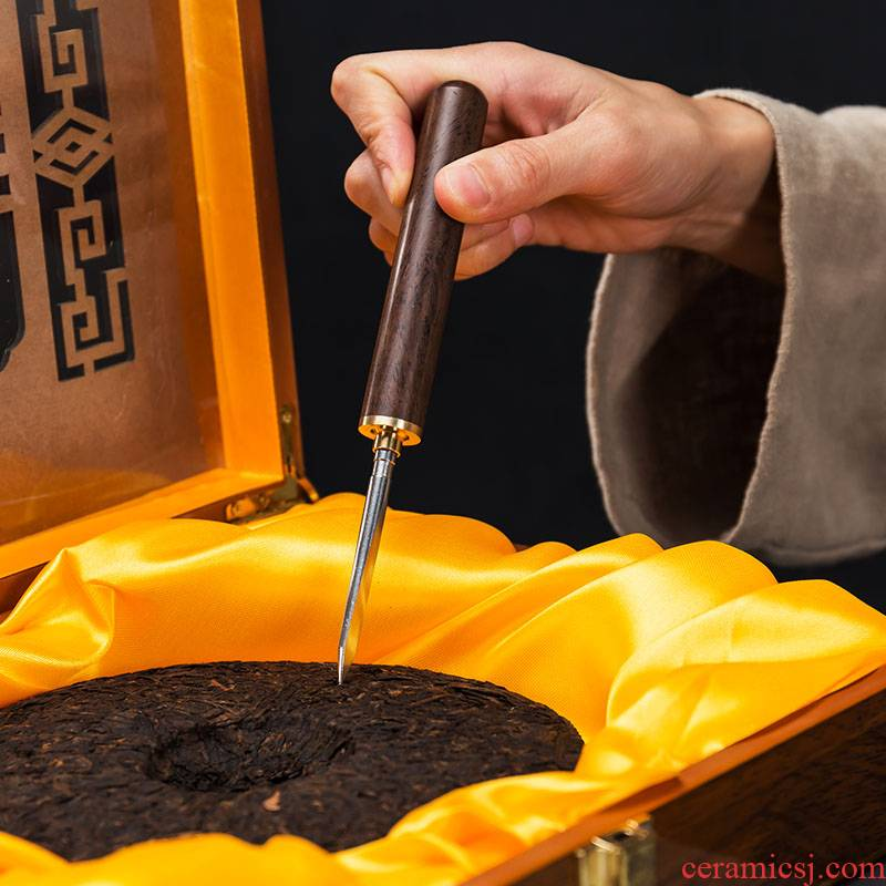 Art of hua limu ChaZhen ebony puer tea knife solid cone kung fu tea tea tea accessories