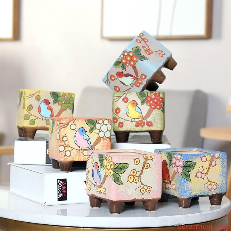 End fleshy flowerpot ceramic specials Korean hand - made birds through basin unit interior pockets pottery flowerpot more than meat