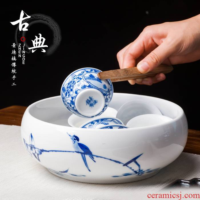 Jingdezhen up the fire which hand - made ceramic large tea to wash to the writing brush washer from blue and white porcelain tea set accessories to wash a cup of water to wash