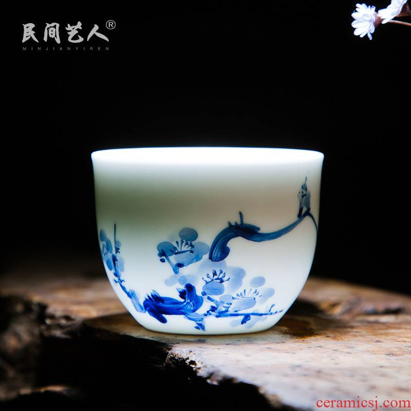 Jingdezhen ceramic hand - made personal cup manual master kung fu tea cup sample tea cup cup single cups of water