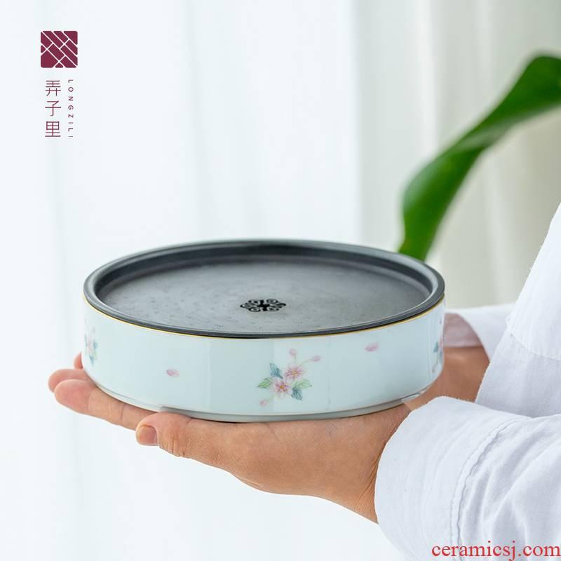 Lane. Gas up of archaize of blossoming mud haitang tin GaiHu bearing. The Jingdezhen ceramic kung fu tea set
