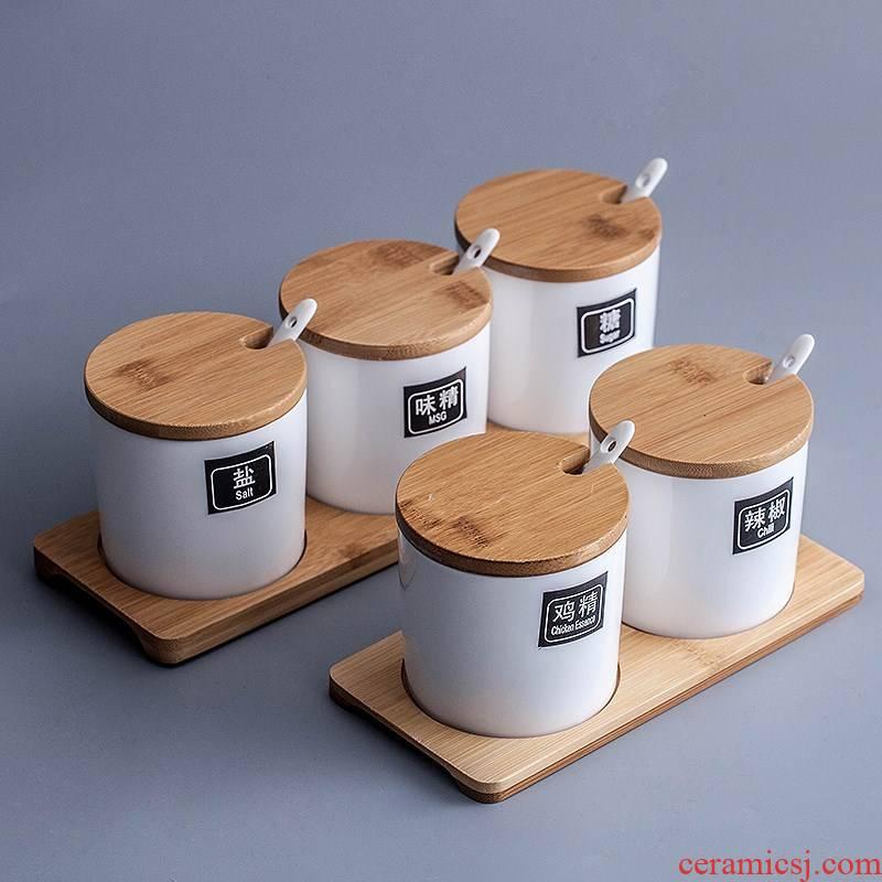 Ceramics with kitchen Nordic single cover spoon, seasoning box seasoning salt tank in monosodium glutamate, white sugar jar