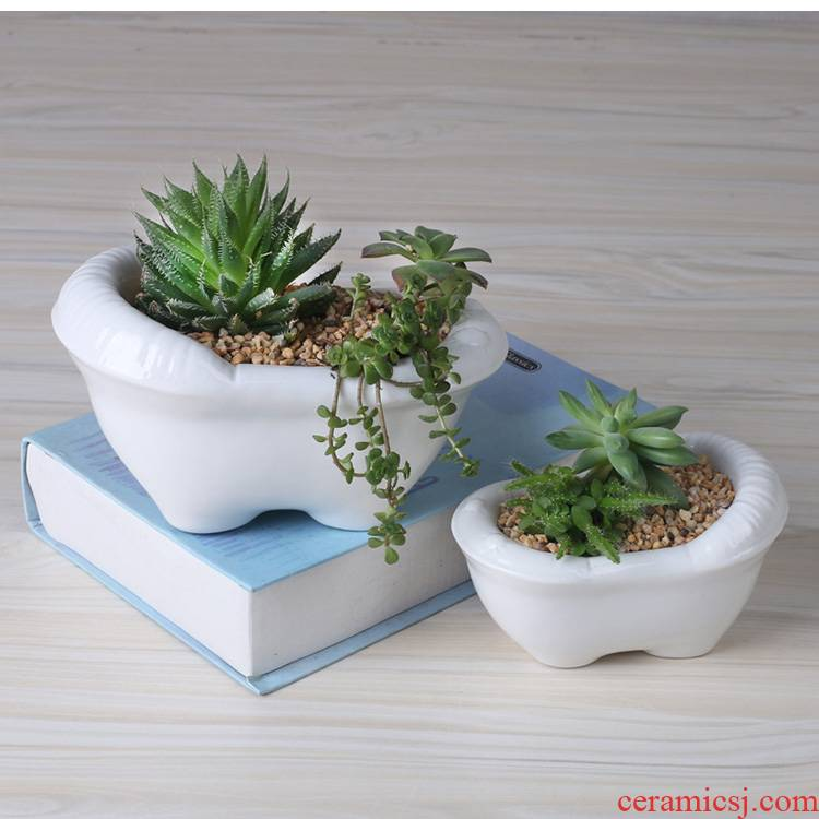 Creative cartoon white pot ceramic contracted move household the plants fleshy flower pot small desktop flower implement a clearance