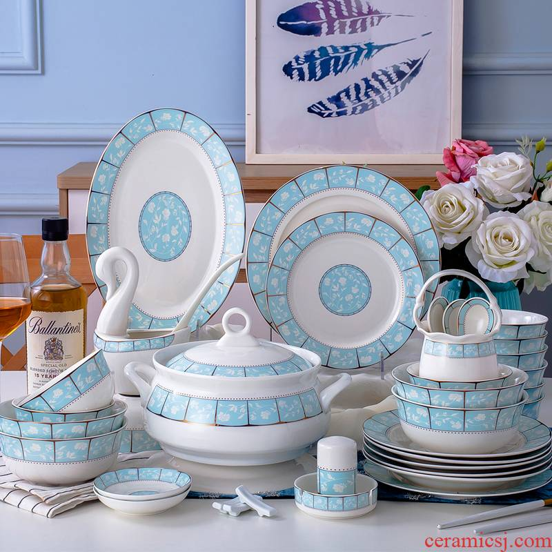 The dishes suit ipads porcelain tableware suit dishes dishes 56/28 spoon head jingdezhen Chinese style household ceramics