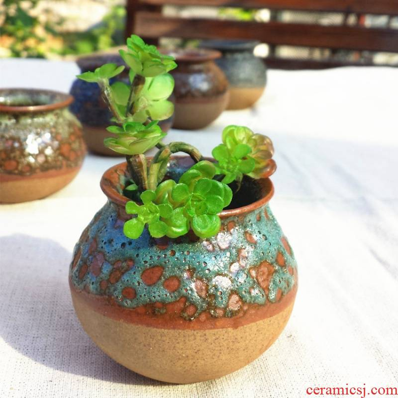 Two fleshy flowerpot ceramic package mail special offer a clearance coarse pottery breathable large - diameter large creative small potted the plants