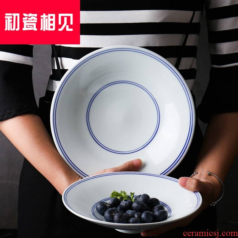 Blue - and - white porcelain meet each other at the beginning of Chinese style household side dish soup bowl deep dish retro ceramic tableware large vegetable salad