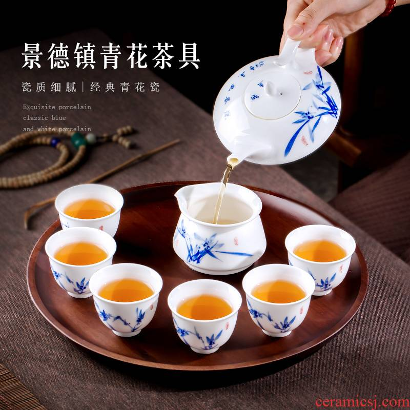 Jingdezhen up the fire which is blue and white porcelain teapot teacup kung fu suit six hand - made ceramic tea set office