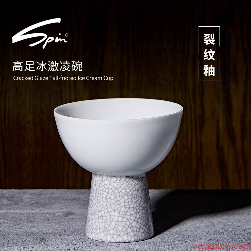 Spin crackle footed bowl ceramic creative household ice cream bowl dessert pudding bowl bowl of ice crack tall bowl