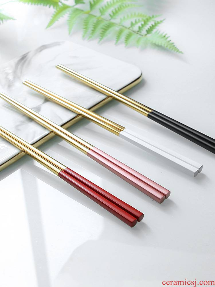 WUXIN Nordic tableware ins couples the dining table - two pairs to to a chopstick in a stainless steel household antiskid chopsticks