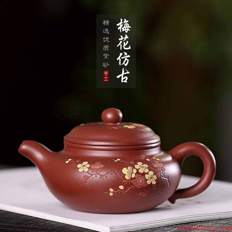 Xu ink yixing purple clay teapots undressed ore dahongpao name plum antique pot of tea coloured drawing or pattern suit household contracted single pot