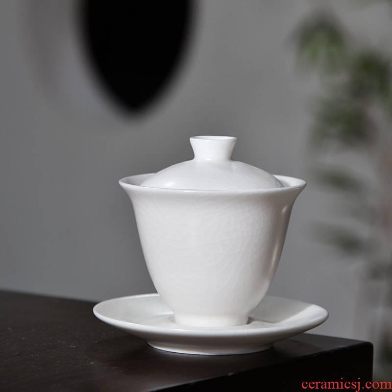 Ivory white tureen tea cups dehua white porcelain bowl with cover three only a single large kung fu tea set