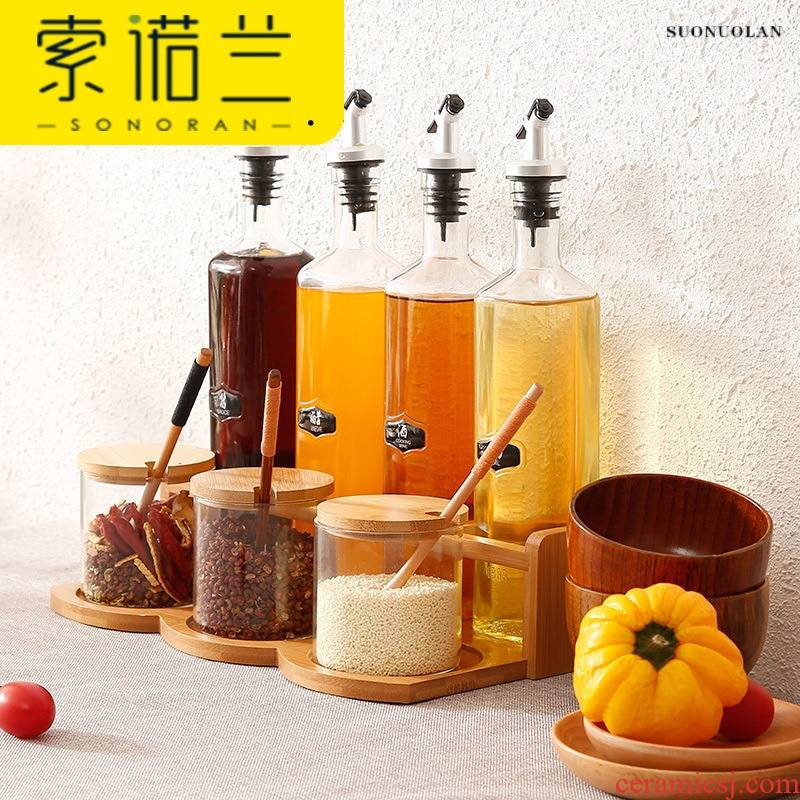 Glass oil can clear household kitchen tank capped vinegar bottle suit stainless steel oil can prevent the leakage of bamboo base