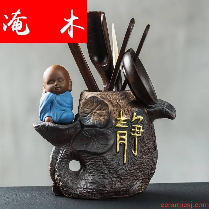 The Six gentleman ebony wenge wood, ceramic tea kungfu tea accessories home furnishing articles suit the whole ground