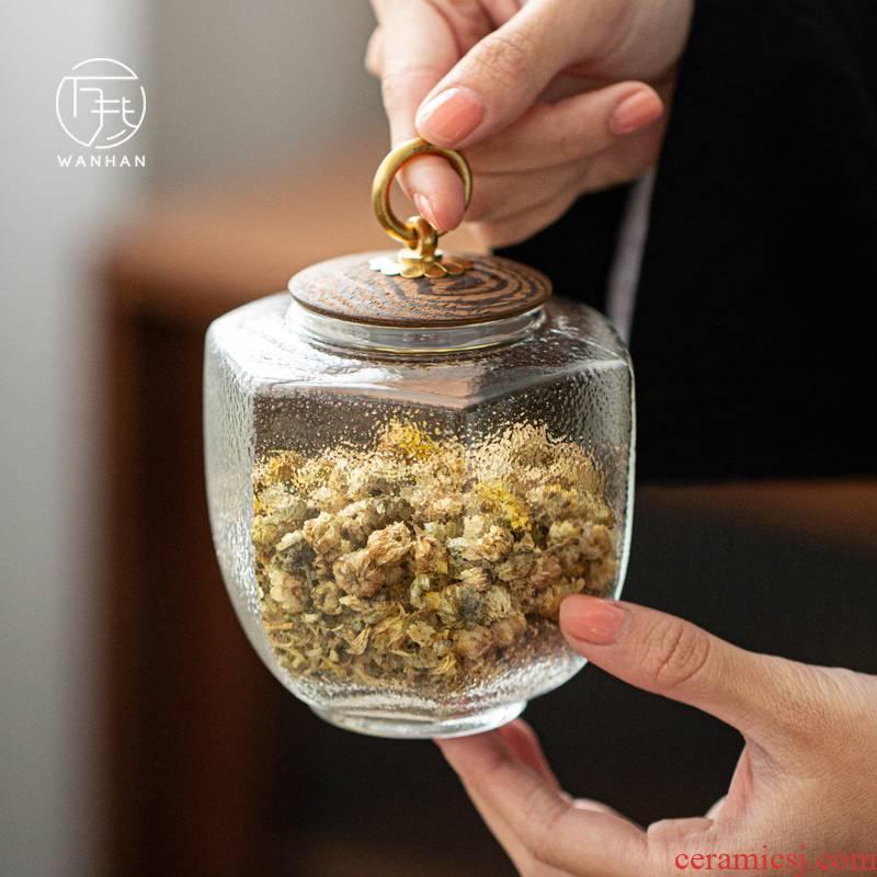 Glass tea pot creative move fashion seal pot small portable tea canister household storage tank