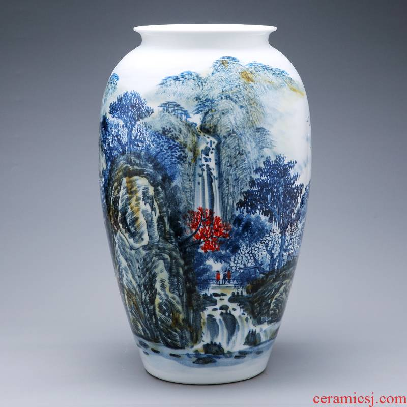 Jingdezhen ceramics hand - made scenery vase large creative Chinese style living room TV ark, home furnishing articles