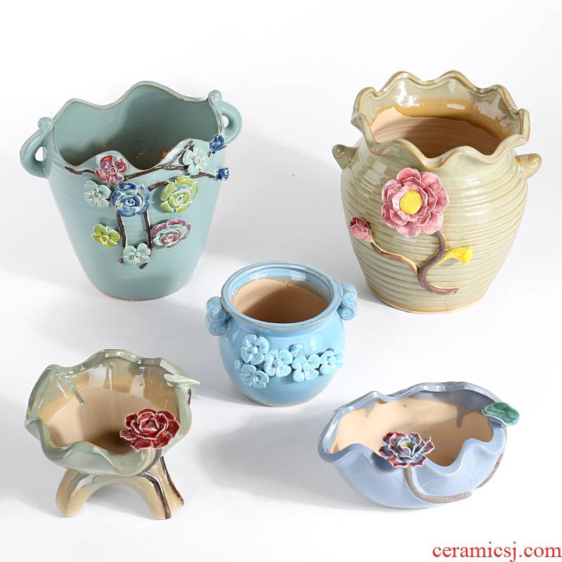 Large extra Large elongated flesh POTS ceramic creative move more lovely old running the basin package mail special offer a clearance