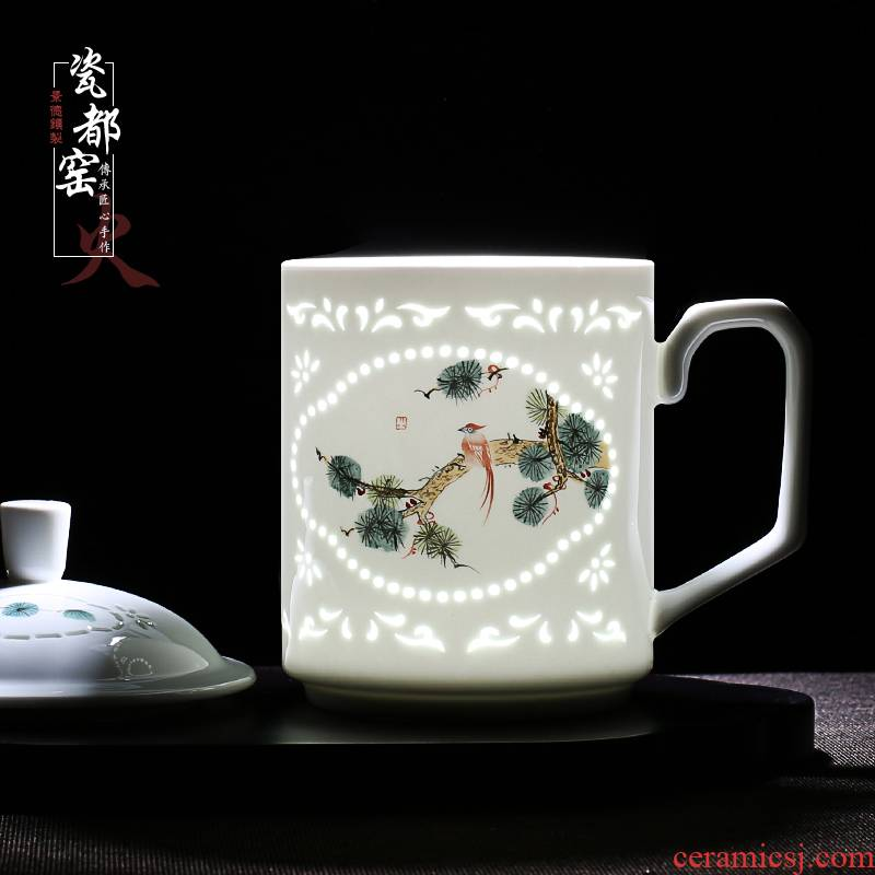 Jingdezhen office and exquisite blue and white porcelain cup business of household of Chinese style hand draw a single flap of make tea cup""
