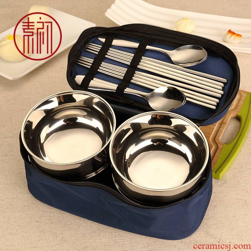 Element at the beginning of the stainless steel bowl double anti hot drop children baby home portable Korean chopsticks spoon set tableware
