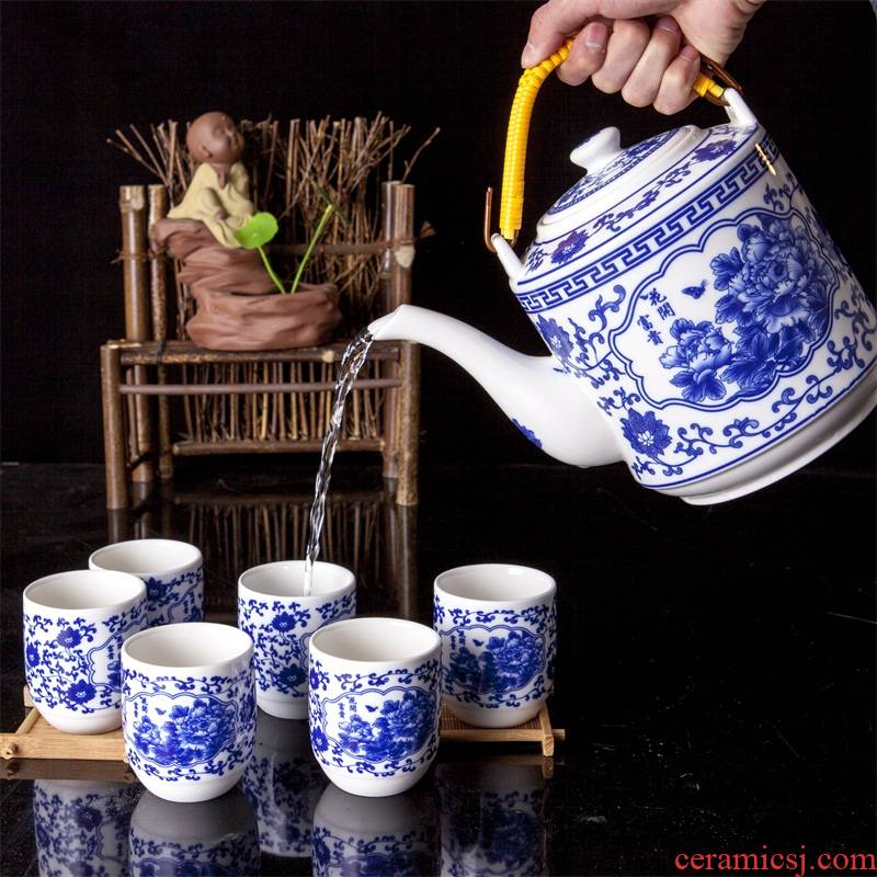 Jingdezhen ceramic pot of cold water mass cool kettle large household burn blisters of blue and white porcelain tea set