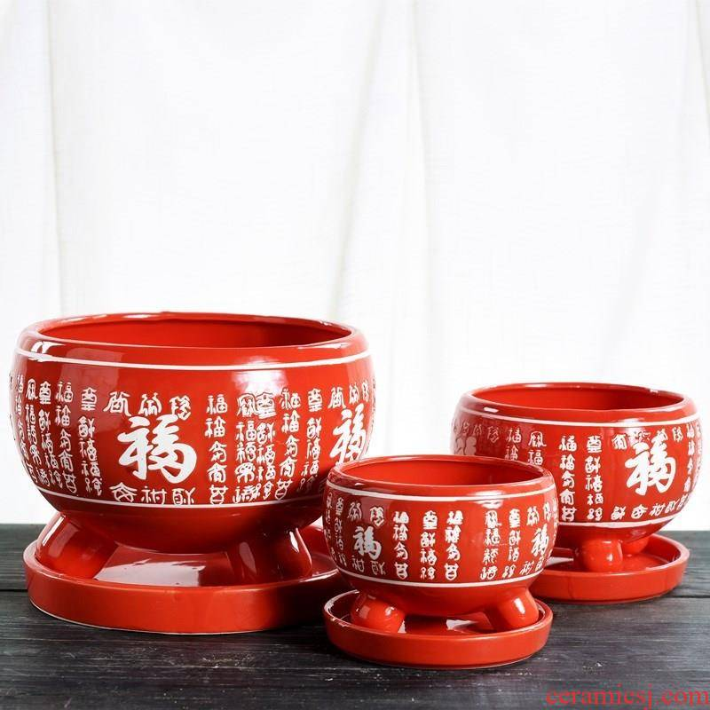 Red flower pot Red Red wanfu flowerpot ceramic tray bracketplant and indoor large - sized belt
