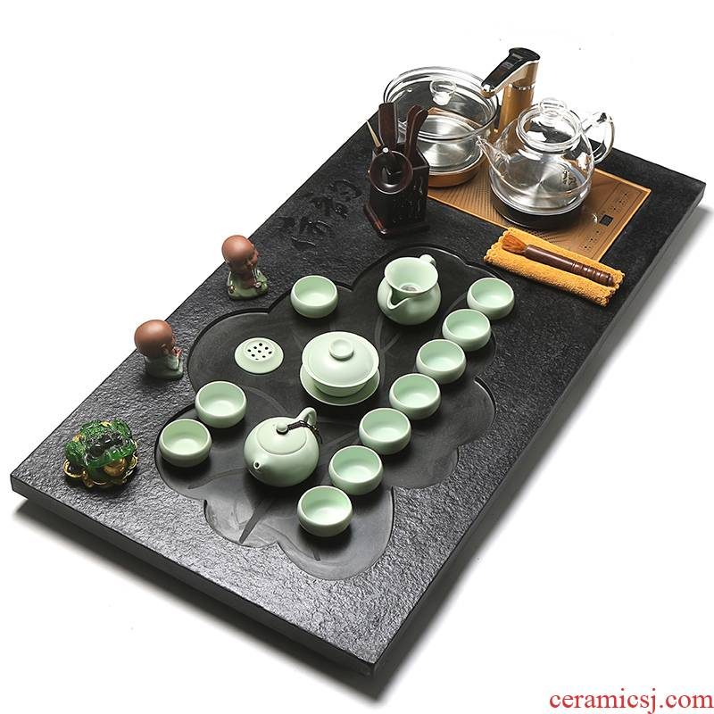 True to sharply stone tea tray tea suit household whole tea four unity induction cooker glass automatic kung fu