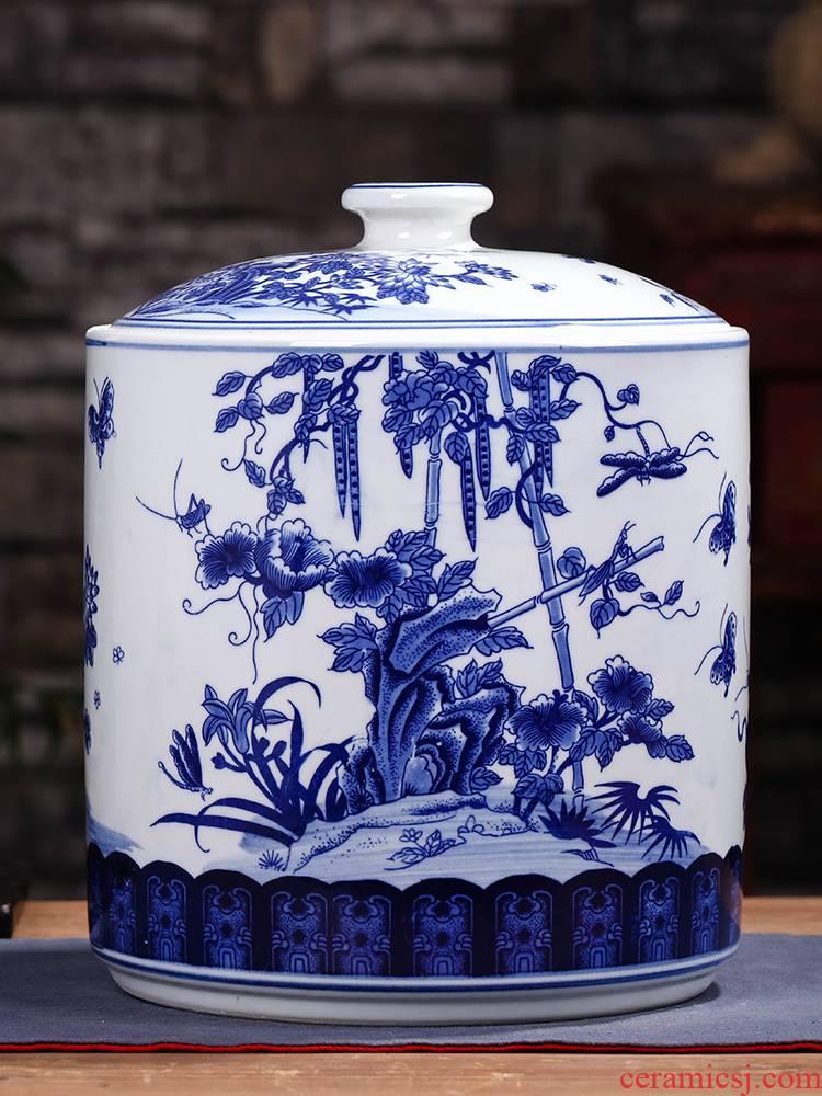 Jingdezhen ceramic seal pot pu 'er tea cake large seven loaves receives the gift porcelain tea pot
