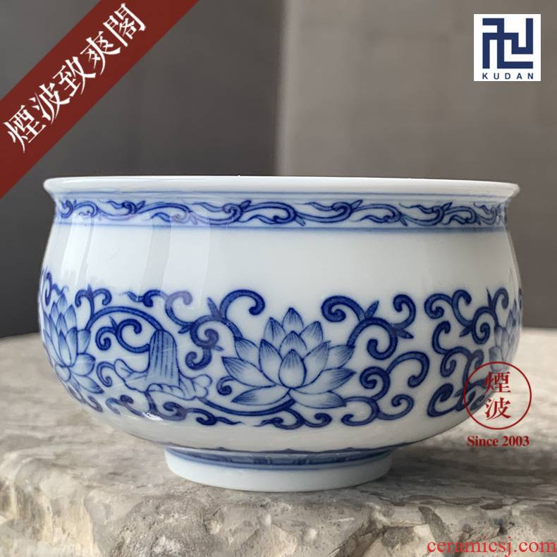 Those jingdezhen blue and white tie up nine calcinations hand lotus flower incense buner cup sample tea cup cup master CPU