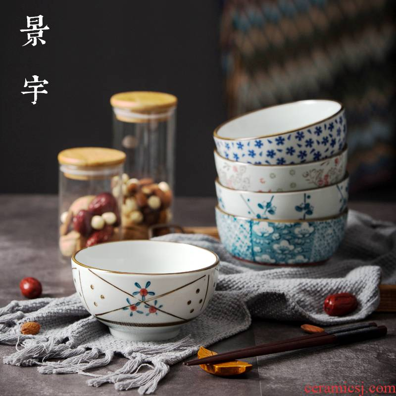 Jingdezhen glaze color under Japanese household ceramics tableware bowls of rice bowls bowl five inches to eat noodles bowl five only