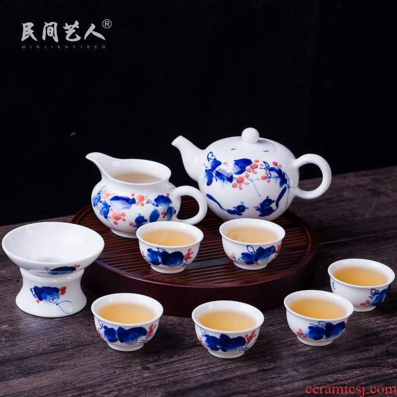 Hand the blue and white porcelain jingdezhen ceramic tea set suit household kung fu tea tea, tea cups of a complete set of POTS