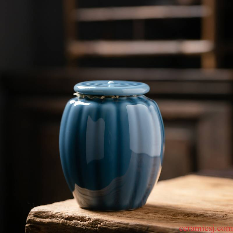 Fujian gen caddy fixings ceramic seal tank ji blue glaze storage tanks tea and tea urn portable moistureproof small scattered tea boxes