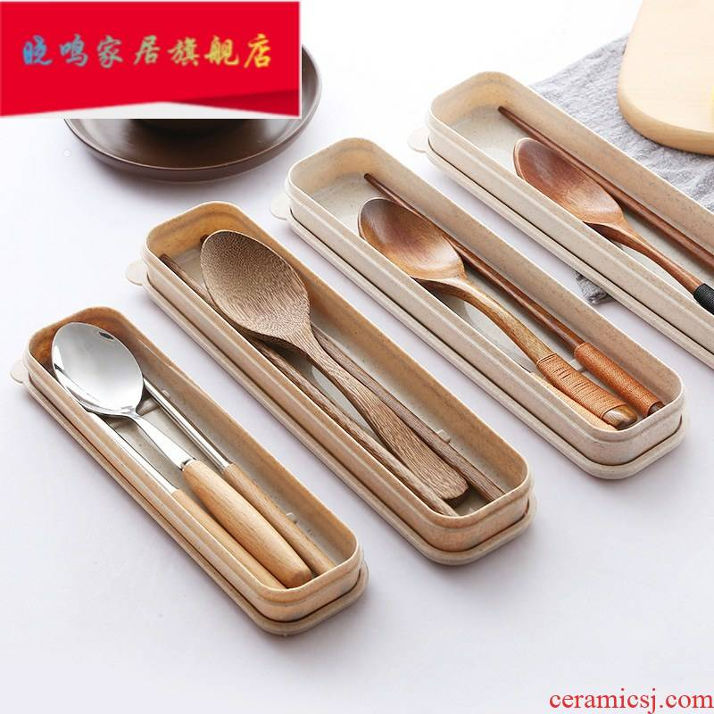 Tableware to their wooden chopsticks, spoons, high - grade wooden three - piece suit portable home work travel