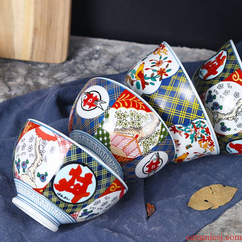 Japanese restaurant ceramic hat to tall bowl beef bowl yoshino home cattle 丼 bowl hand - made cover burn always rainbow such use