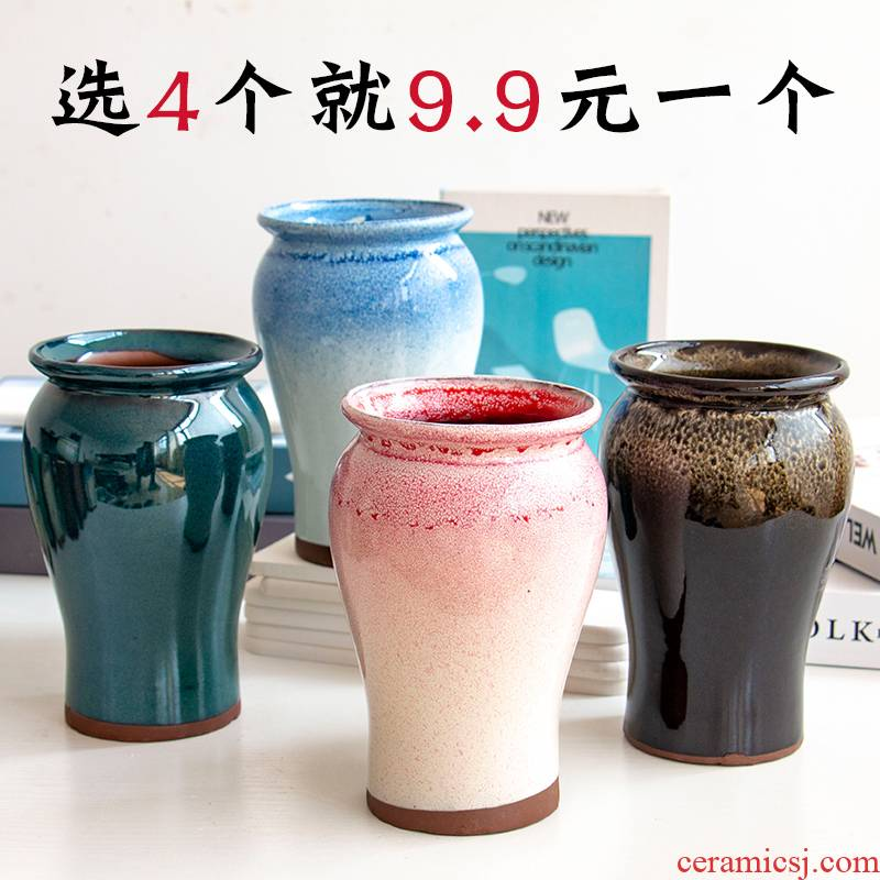 Meaty plant pot ceramic flower POTS, fleshy contracted character coarse pottery violet arenaceous mage gop running high pot color